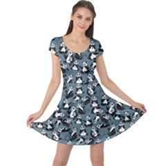 Blue Set Cartoon Funny Panda On A Blue Animal Pattern Cap Sleeve Dress by CoolDesigns
