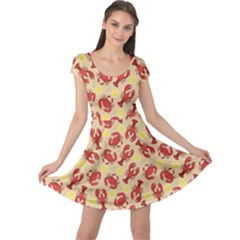 Red Lobster And Crab Lemon And Dill Pattern Cap Sleeve Dress by CoolDesigns