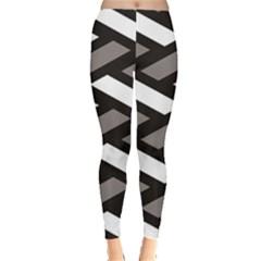 Black Wicker Texture Geometric Pattern Leggings
