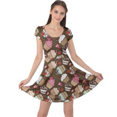 Colorful Pattern Of Tasty Cupcakes Cap Sleeve Dress by CoolDesigns