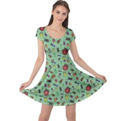 Green Color Bugs And Beetles Green Pattern Cap Sleeve Dress by CoolDesigns