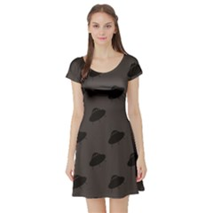 Black Ufo Web Flat Design Gray Pattern Short Sleeve Skater Dress