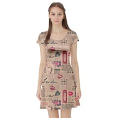 Colorful Pattern Newspaper London With Grunge Eleme Short Sleeve Skater Dress