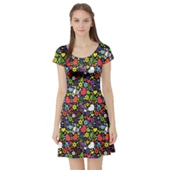 Colorful Flowers Skulls And Hearts Pattern Short Sleeve Skater Dress by CoolDesigns