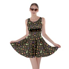Black Growing Vegetables Beetroot Potato Carrot Garlic Onion Skater Dress by CoolDesigns