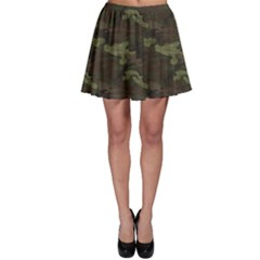 Green Camouflage Four Colour Woodland Pattern Skater Skirt