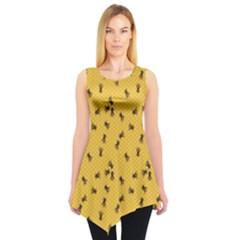 Yellow Pattern Of The Bee On Honeycombs Sleeveless Tunic Top by CoolDesigns