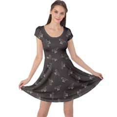 Black Tyrannosaurus Dinosaur Doodle Pattern Cap Sleeve Dress by CoolDesigns