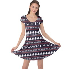 Black Christmas Pattern Pattern Cap Sleeve Dress by CoolDesigns