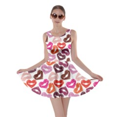 Colorful Print Of Heart Lips Kiss Valentine Cute Skater Dress by CoolDesigns
