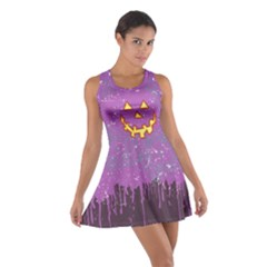 Pumpkin Face Purple Cotton Racerback Dress by CoolDesigns
