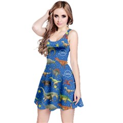 Blue Dino Walking Reversible Sleeveless Dress by CoolDesigns