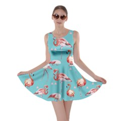 Triangle Turquoise Flamingo V2 Skater Dress