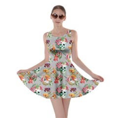 Light Gray Skull And Flowers Pattern Skater Dress by CoolDesigns