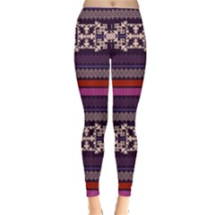 Purple3 Aztec Tribal Chevron Stripes Leggings  by CoolDesigns