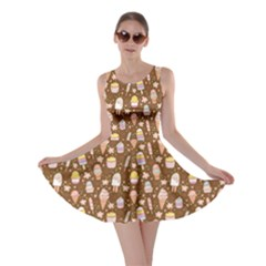 Brown Yummy Ice Cream Pattern Skater Dress