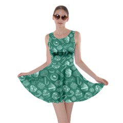 Teal Yummy Colorful Sweet Lollipop Candy Macaroon Cupcake Donut Seamless Skater Dress