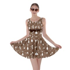 Brown Lovely Cats Pattern Skater Dress by CoolDesigns