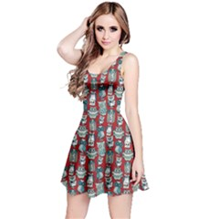 Red Owl Pattern Sleeveless Skater Dress