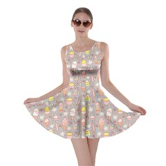 Gray Yummy Ice Cream Pattern Skater Dress