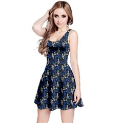 Blue Music Notes Treble Clef Sleeveless Skater Dress by CoolDesigns
