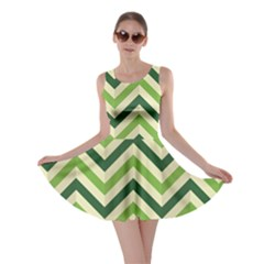 Green Chevron Zigzag Compressed Paper Wallpaper Green Shades Skater Dress