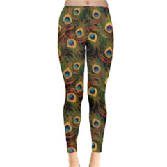 Green Pattern Peacock Feathers Women s Leggings by CoolDesigns