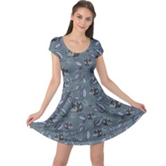 Blue Hedgehogs In The Night Forest Pattern Cap Sleeve Dress by CoolDesigns