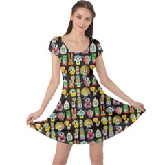 Colorful Cute Monsters On Black Pattern Cap Sleeve Dress by CoolDesigns