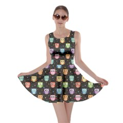 Black Pattern With Colorful Owls On Dark Skater Dress by CoolDesigns