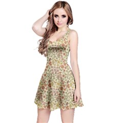Colorful Floral Pattern With Butterflies On Beige Sleeveless Dress