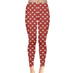 Red Heart Pattern On Red Leggings