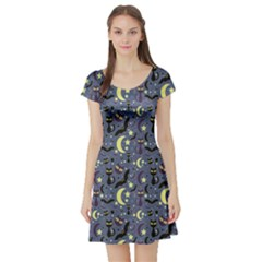Blue Cute Pattern Night Life Cats And Bats Short Sleeve Skater Dress by CoolDesigns
