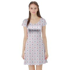 Gray Retro Pattern Polka Dot With Anchors Short Sleeve Skater Dress by CoolDesigns