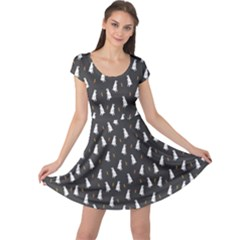 Dark Floral Pattern With Rabbit And Carrot Bunny Cap Sleeve Dress by CoolDesigns