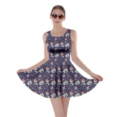 Blue Indian Floral Pattern On Blue Skater Dress by CoolDesigns