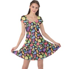 Colorful Colorful Watercolor Gem Pattern Cap Sleeve Dress by CoolDesigns