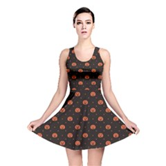 Black Black D Polka Dots Pattern With Halloween Pumpkin Reversible Skater Dress by CoolDesigns