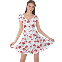 Red Fly Agaric Mushrooms Pattern Cap Sleeve Dress by CoolDesigns