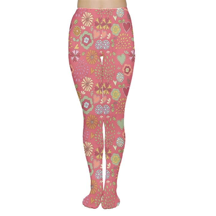Pink Floral Flowers Design Pattern Women s Tights