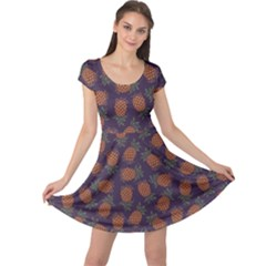 Purple Pattern Of Pineapple Cap Sleeve Dress