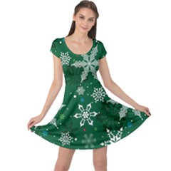 Dark Green Snowy Cap Sleeve Dress by CoolDesigns