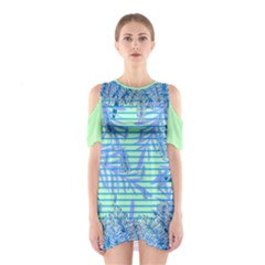 Blue Palm Cutout Shoulder One Piece by CoolDesigns