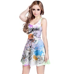 Inkfloral2 Sleeveless Skater Dress by CoolDesigns