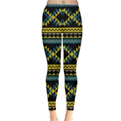 Yellow & Blue Aztec Tribal Chevron Stripes Leggings by CoolDesigns