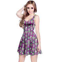 Purple Owl Pattern Sleeveless Skater Dress  by CoolDesigns