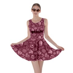 Wine Yummy Colorful Sweet Lollipop Candy Macaroon Cupcake Donut Seamless Skater Dress  by CoolDesigns