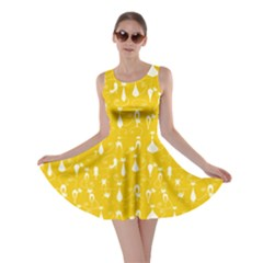 Yellow Lovely Cats Pattern Skater Dress by CoolDesigns