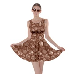 Brown Yummy Colorful Sweet Lollipop Candy Macaroon Cupcake Donut Seamless Skater Dress  by CoolDesigns