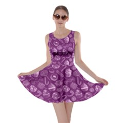 Purple Yummy Colorful Sweet Lollipop Candy Macaroon Cupcake Donut Seamless Skater Dress  by CoolDesigns